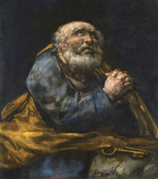 Painting - The Repentant St Peter by Francisco Goya