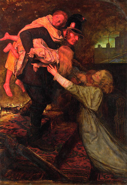 Everett Painting - The Rescue by John Everett Millais