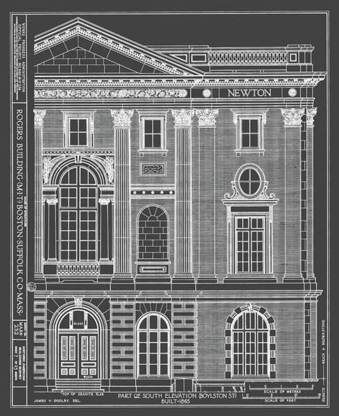 Boston Landmark Drawing - The Rogers Building - Mit - Boston, Ma - Circa 1865 by Wall Artifact