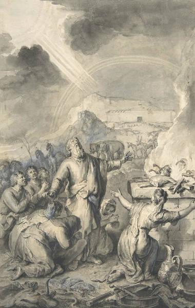 Wall Art - Drawing - The Sacrifice Of Noah by Gerard Hoet