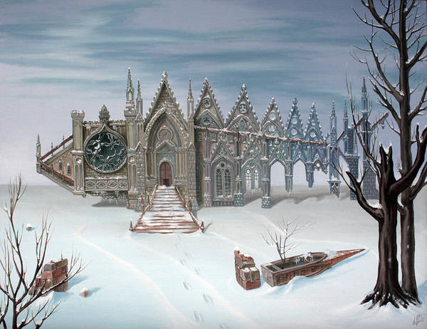 Painting - The Sad Winter Tale . Or  Gothic Fish by Victor Molev