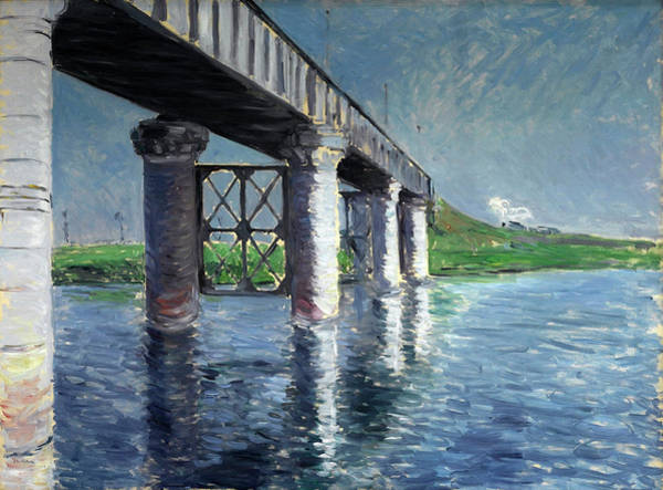 Wall Art - Painting - The Seine And The Railroad Bridge At Argenteuil  by Gustave Caillebotte