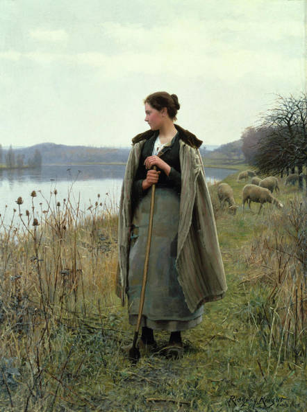 The Shepherdess Wall Art - Photograph - The Shepherdess Of Rolleboise by Daniel Ridgway Knight