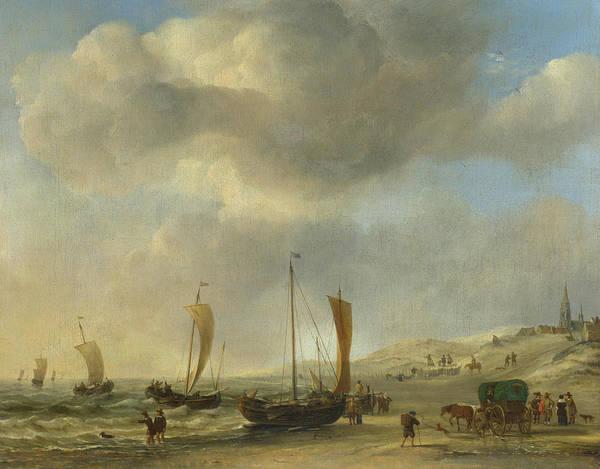 Ocean Scape Painting - The Shore At Scheveningen by Willem van de Velde