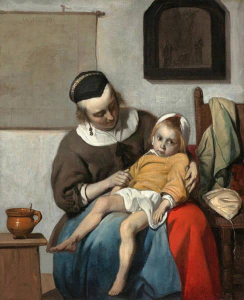 Gabriel Painting - The Sick Child by Gabriel Metsu