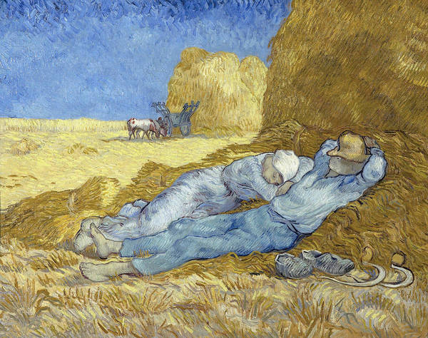 Barley Painting - The Siesta After Millet by Vincent Van Gogh