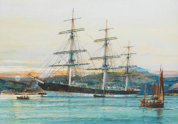 Mooring Painting - The Square-rigged Australian Clipper Old Kensington Lying On Her Mooring by Jack Spurling