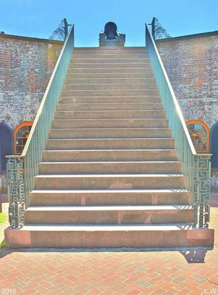 Photograph -  The Stairs At Fort Macon North Carolina  by Lisa Wooten