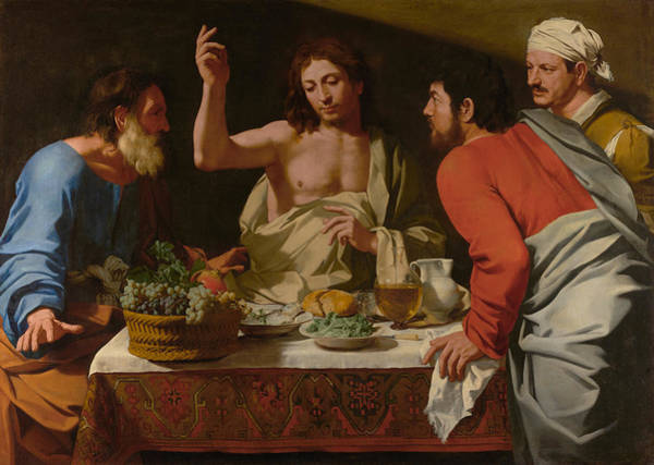 Sacrament Wall Art - Painting - The Supper At Emmaus by Bartolomeo Cavarozzi