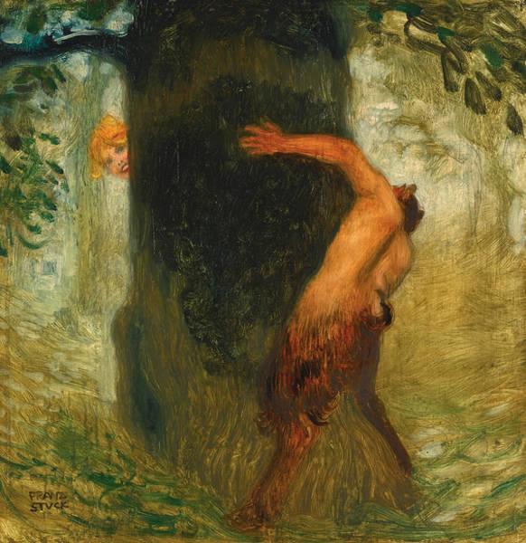 Franz Von Stuck Painting - The Tease by Franz von Stuck