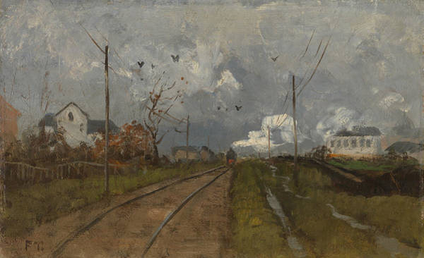 Painting - The Train Is Arriving by Frits Thaulow