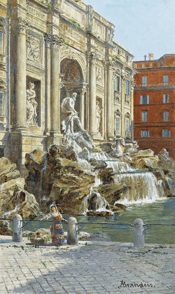Wall Art - Painting - The Trevi Fountain In Rome by MotionAge Designs