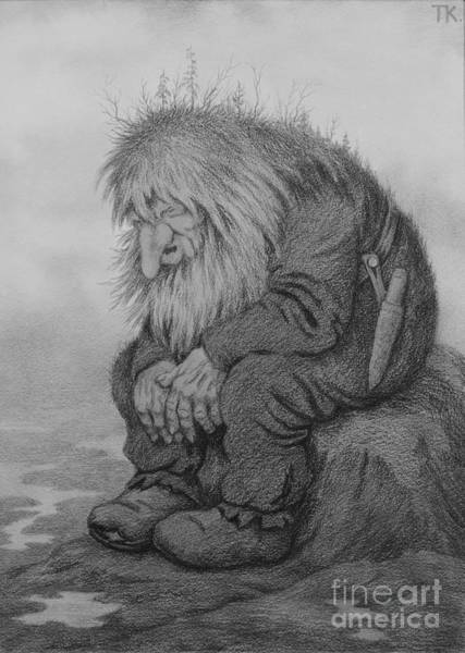 Troll Wall Art - Drawing - The Troll That Wonders How Old He Is by O Vaering