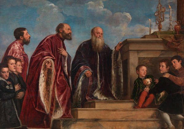 Gabriel Painting - The Vendramin Family by Titian