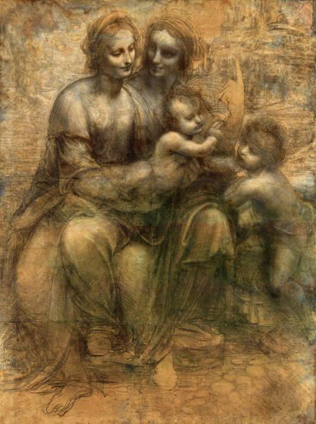 Babe Drawing - The Virgin And Child With Saint Anne And Saint John The Baptist by Leonardo da Vinci