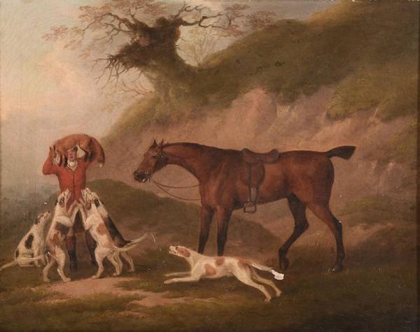 Wall Art - Painting - The Whipper In Bringing Up The Fox Hounds by John Nost Sartorius