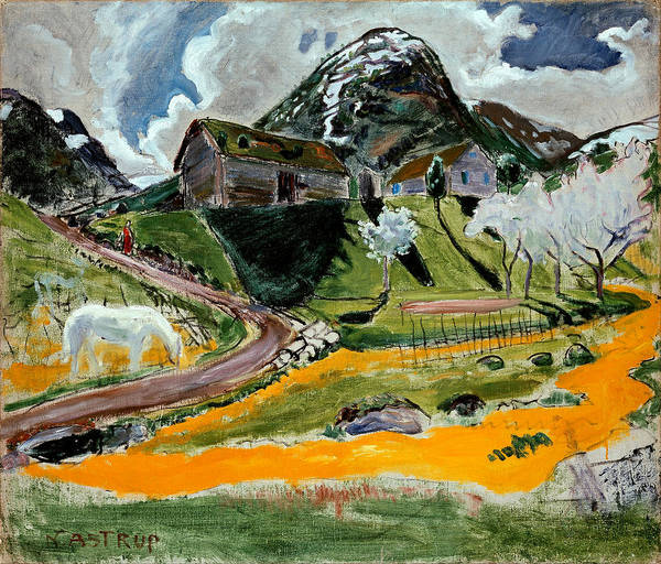 Nikolai Astrup Painting - The White Horse In Spring by Nikolai Astrup