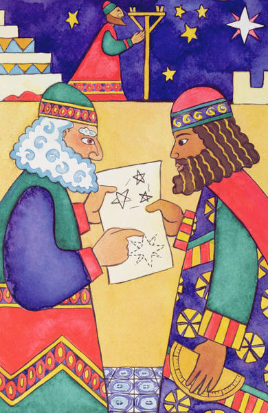 Wise Man Wall Art - Painting - The Wise Men Looking For The Star Of Bethlehem by Cathy Baxter