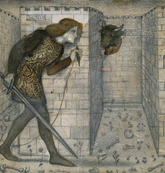 Drawing - Theseus And The Minotaur In The Labyrinth by Edward Burne-Jones