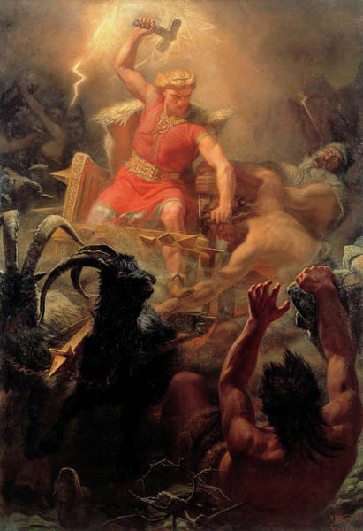 Wall Art - Painting - Thor Fighting With The Giants by Marten Eskil Winge