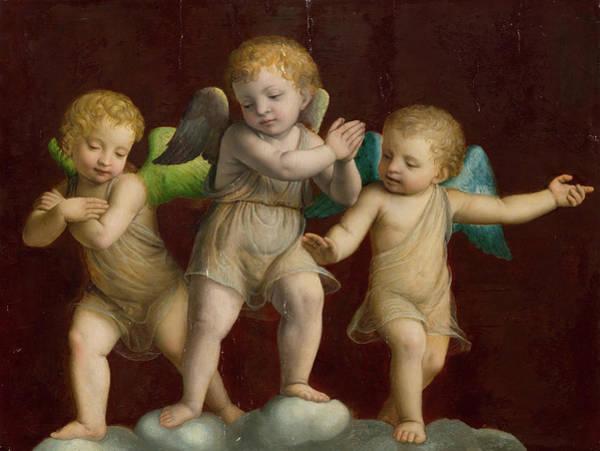 Sacred Heart Painting - Three Cherubs by Bernardino Luini