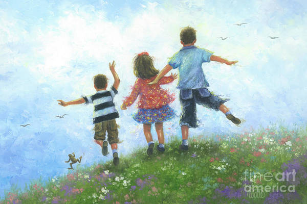 Wall Art - Painting - Three Children Leaping by Vickie Wade