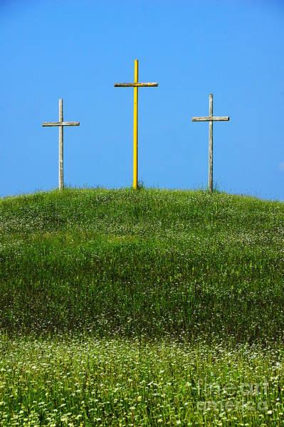Wall Art - Photograph - Three Crosses On Hill by Thomas R Fletcher