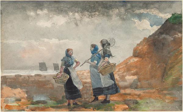 Wall Art - Drawing - Three Fisher Girls - Tynemouth by Winslow Homer