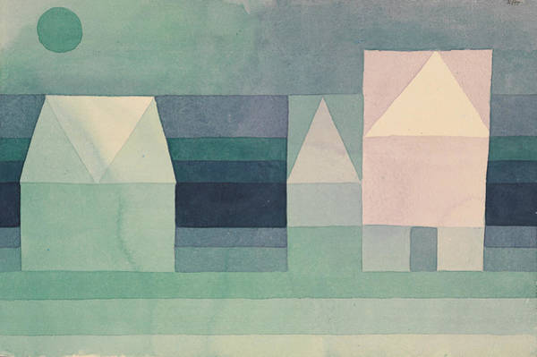 Drawing - Three Houses by Paul Klee