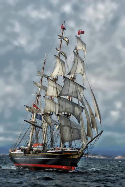 Photograph - Three Mast Schooner by Anthony Dezenzio