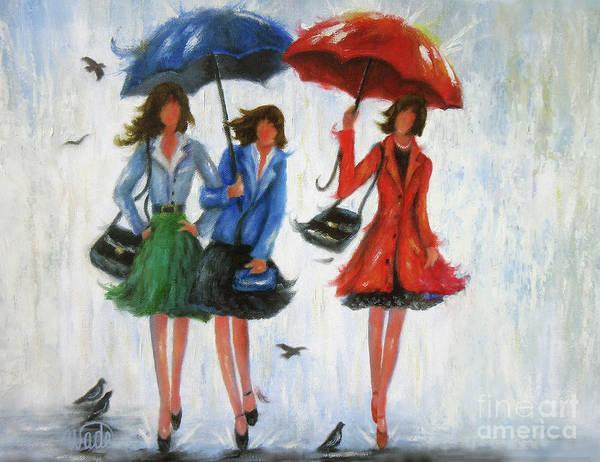 Bridesmaids Painting - Three Rain Girls by Vickie Wade