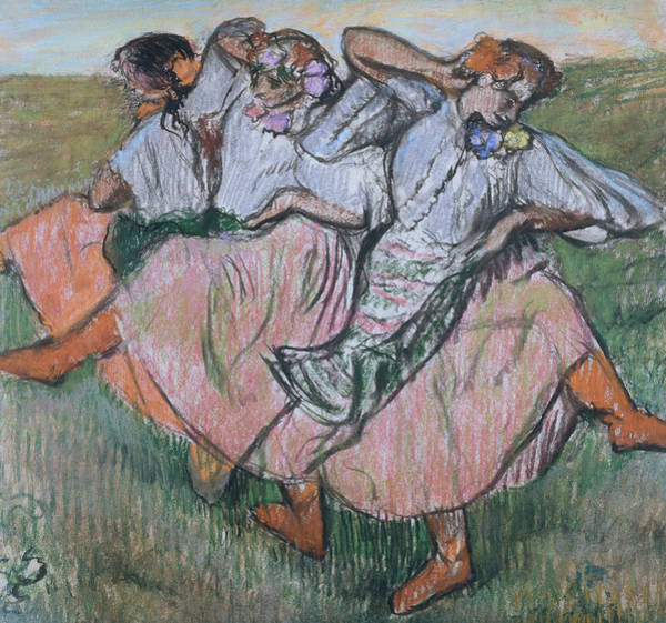Pastel - Three Russian Dancers by Edgar Degas