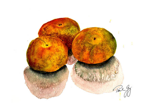 Wall Art - Painting - Three Satsumas by Paul Gaj