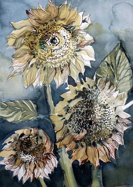 Sunflower Seeds Drawing - Three Sunflowers by Mindy Newman