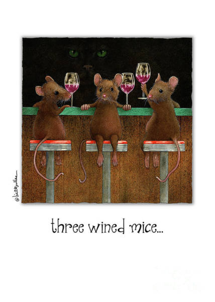 Wall Art - Painting - Three Wined Mice... by Will Bullas