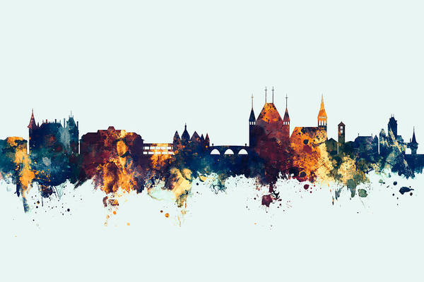 Wall Art - Digital Art - Thun Switzerland Skyline by Michael Tompsett