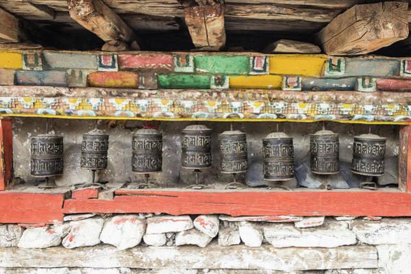 Photograph - Tibetan Buddhism Prayer Wheels  In Manang by Didier Marti