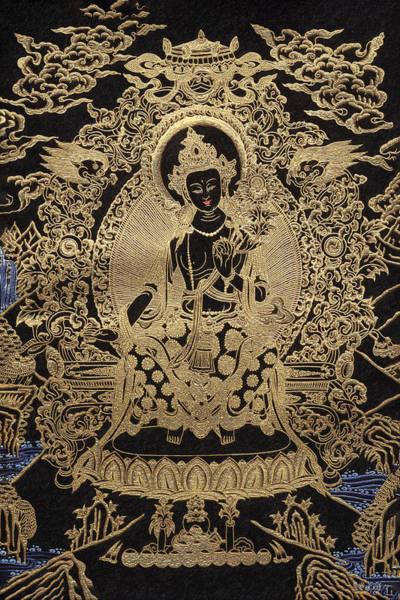 Wall Art - Photograph - Tibetan Thangka  - Maitreya Buddha by Serge Averbukh