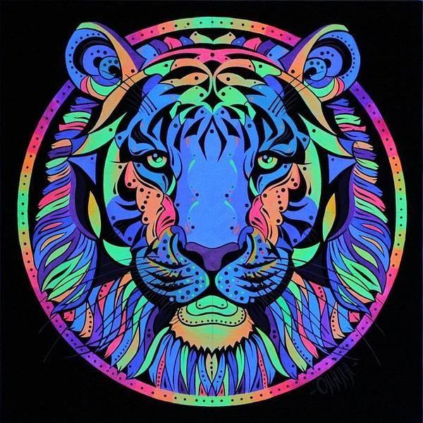 Acrilic Painting - Tiger Night Light  by Olala Lomanova
