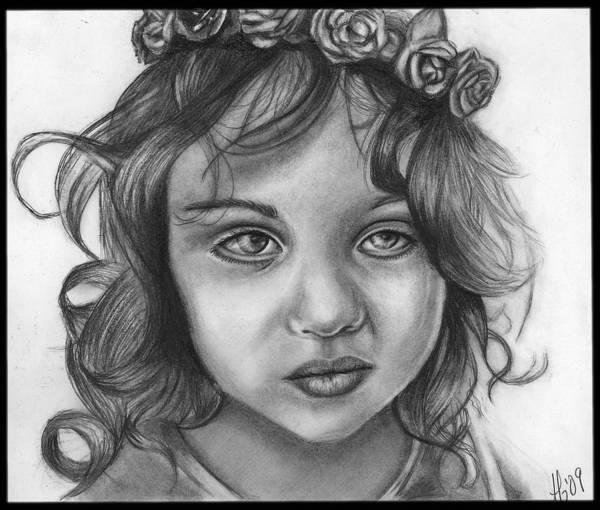 Wall Art - Drawing - Tired Little Flower Girl by Alycia Ryan
