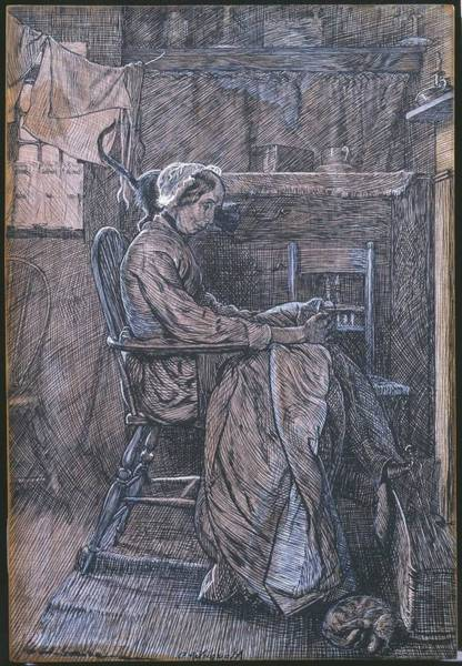 Arthurs Seat Painting - Title Old Woman Seated In A Chair by Arthur Boyd Houghton