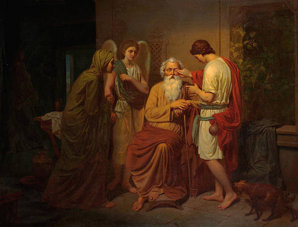 Swedish Painters Wall Art - Painting - Tobias Healing His Blind Father's Eyes by August Malmstrom