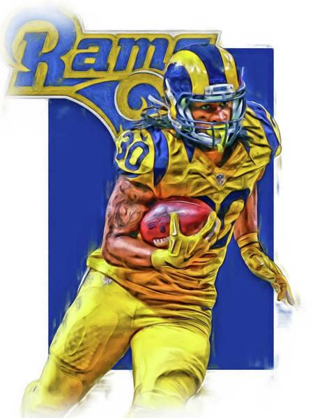 Ram Wall Art - Mixed Media - Todd Gurley Los Angeles Rams Oil Art by Joe Hamilton