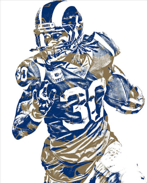 Super Bowl Mixed Media - Todd Gurley Los Angeles Rams Pixel Art 22 by Joe Hamilton