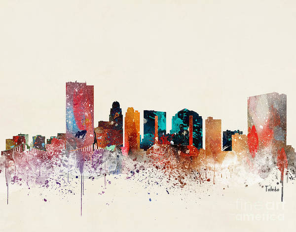Wall Art - Painting - Toledo Skyline  by Bri Buckley