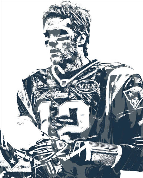 Wall Art - Mixed Media - Tom Brady New England Patriots Pixel Art 40 by Joe Hamilton