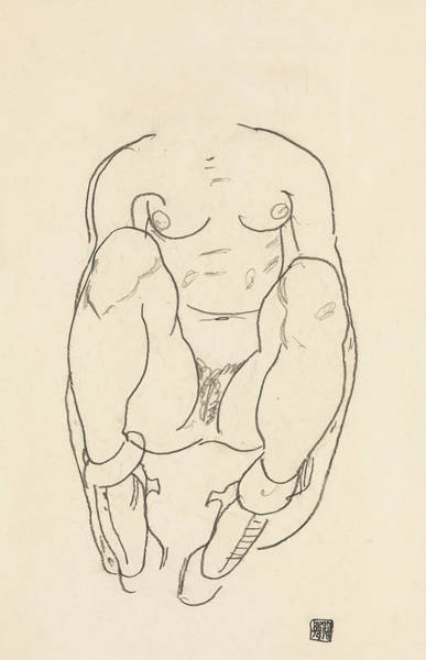 Austrian Drawing - Torso Of A Seated Woman With Boots by Egon Schiele
