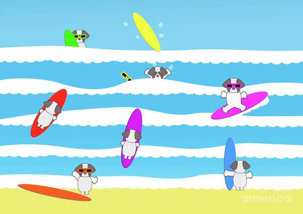 Digital Art - Totally Shih Tzu Surf by Barefoot Bodeez Art