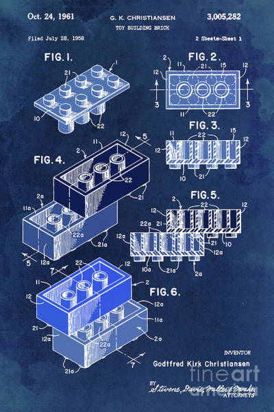 Wall Art - Digital Art - Toy Blocks Patent, Blue Blocks On Vintage Background by Drawspots Illustrations