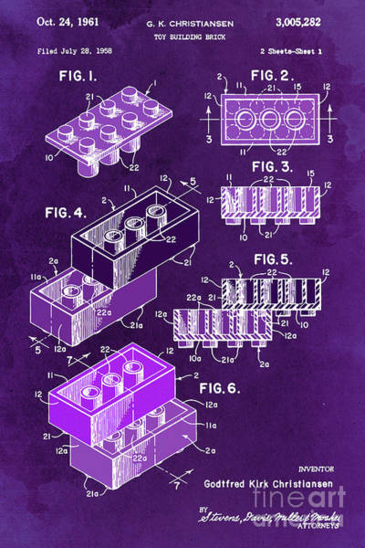 Wall Art - Digital Art - Toy Blocks Patent, Purple Blocks On Vintage Background by Drawspots Illustrations